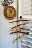 Coat rack & hat peg made from weathered, collected branches