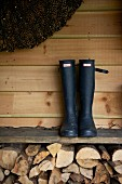 Pair of boots on board shelf above stacked firewood