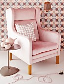 Delicate shades of pink and copper with geometric patterns; inviting elegance