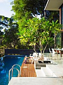 Terrace with sun deck and swimming pool