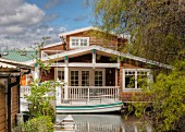 Floating house on canal