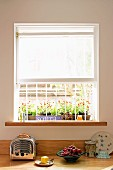 Retro toaster and fruit bowl on kitchen counter below window with grille and half-closed roller blind; flowers in window box outside