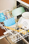 Washing-up brush and crockery in open dishwasher