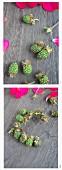 Tying a small wreath of unripe blackberries