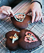 Chocolate-covered gingerbread with nostalgic stickers