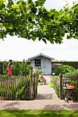 Vegetable garden with paling fence, brick-paved path and shed; mother and daughter gardening