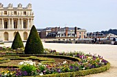 Low hedges around landscaped, Baroque flower beds in the park of the Palace of Versailles