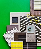 Collection of samples for renovating living area floors and walls