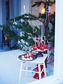 Various sweets around Christmas tree