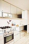 Stylish designer kitchen with mirrored cupboard doors