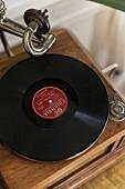Record on vintage gramophone