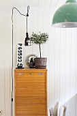 Improvised retro pendant lamp above small potted olive tree on old filing cabinet with roller shutter door against white wooden wall