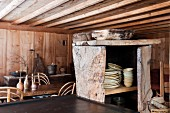 Rustic wooden cupboard in wooden cabin