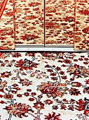 Patterned rug reflected in mirror