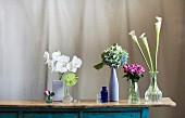 Blüten von Orchidee, Anthurie, Herbst-Hortensie, Rose und Kannenpflanze in verschiedenen Vasen auf Vintage Kommode