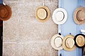 Collection of straw hats hanging on wall