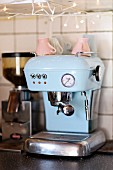 Pastel-blue, retro coffee machine