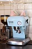Pastel-blue, retro coffee machine