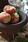 Apples in iron dish