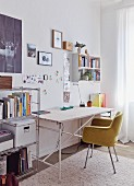 Upholstered shell chair at desk in contemporary study