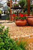 Geraniums in terracotta planter and wrought iron garden furniture in Mediterranean garden