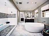Free-standing bathtub in modern bathroom; Brea; California; USA