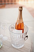 Close-up of flutes and wine bottle in ice bucket on table