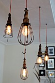 Vintage pendant lamps with various wire lampshades