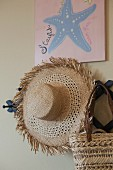 Close-up of hat and basket hanging on the wall