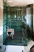 Contemporary bathroom with glass shower; Laguna Niguel; California; USA