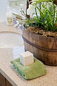 Green towel and soap on bathroom counter; San Marcos; California; USA