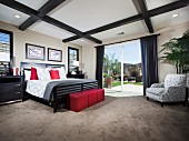 Master bedroom with coffered ceiling; Valencia; California; USA