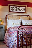 Pillows on wrought iron bed