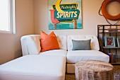 Contemporary living room with white sofa; Moreno Valley; California; USA