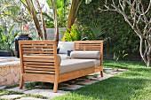 Cushioned bench on patio; Dana Point; California; USA