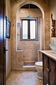 Bathroom with shower and toilet; Dana Point; California; USA