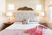 Table lamps flanking bed; Santa Fe; New Mexico; USA