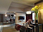 Living and dining area in hotel room