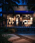 Exterior of art gallery at night; United States of America