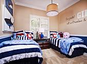 Children's bedroom with twin beds