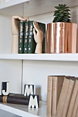 Antiquarian books and house plant in copper planter on white shelves