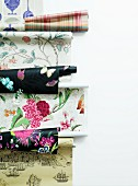 Rolls of wallpaper with different patterns
