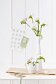 Small jug and slender porcelain vase of freesias on table
