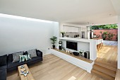 Open-plan, minimalist interior with sofa and dining area on raised platform separated by half-height wall