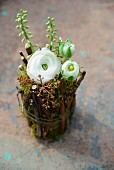 White ranunculus in jam jar covered in twigs and moss