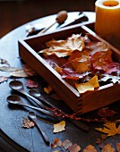 Autumn leaves in wooden box with wooden spoons