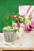 Succulent in vintage ceramic pot and purple clematis in pale vase on rustic wooden board