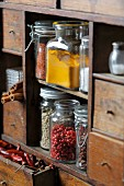 Spices on an antique wooden kitchen shelf