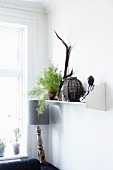 Buddha figurine, lantern and foliage plant on white-painted bracket shelf