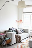 Sofa with many scatter cushions, magazine rack and books on side table